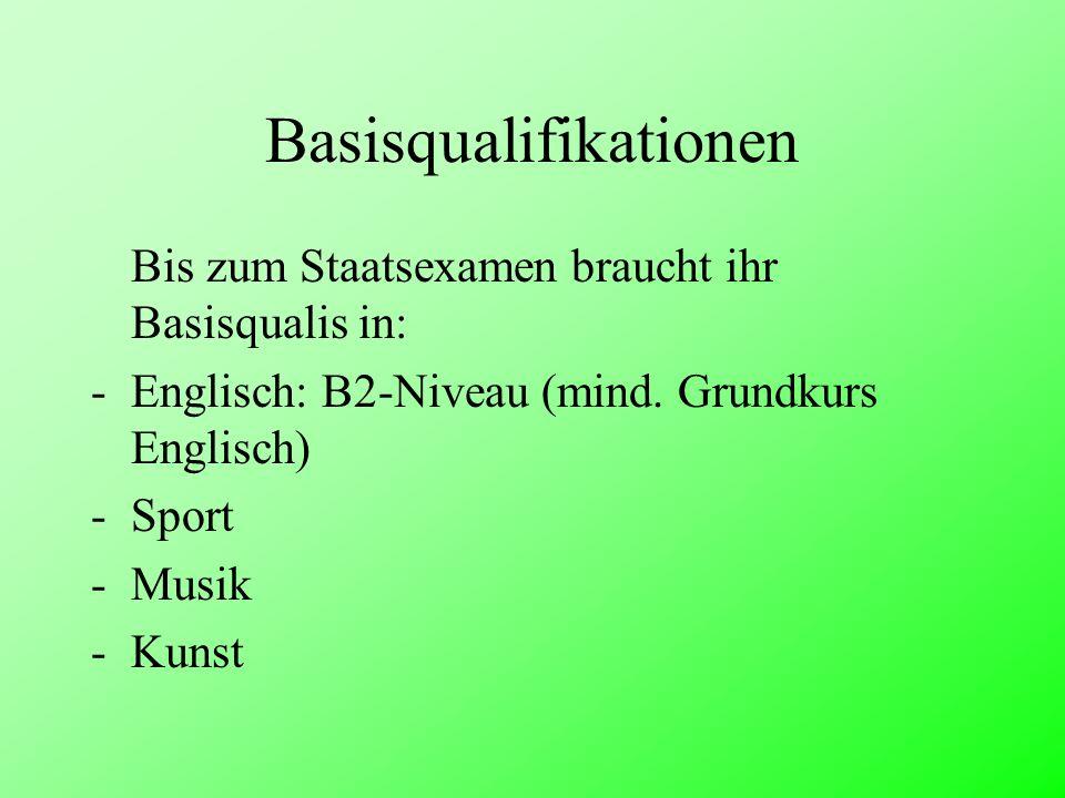 Basisqualifikationen Bis zum Staatsexamen braucht ihr Basisqualis in: -Englisch: B2-Niveau (mind. Grundkurs Englisch) -Sport -Musik -Kunst