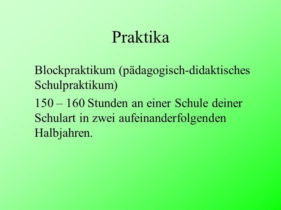 Praktika Blockpraktikum (pädagogisch-didaktisches Schulpraktikum) 150 – 160 Stunden an einer Schule deiner Schulart in zwei aufeinanderfolgenden Halbj