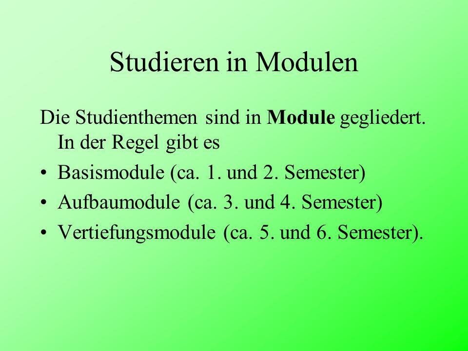 Studieren in Modulen Die Studienthemen sind in Module gegliedert. In der Regel gibt es Basismodule (ca. 1. und 2. Semester) Aufbaumodule (ca. 3. und 4