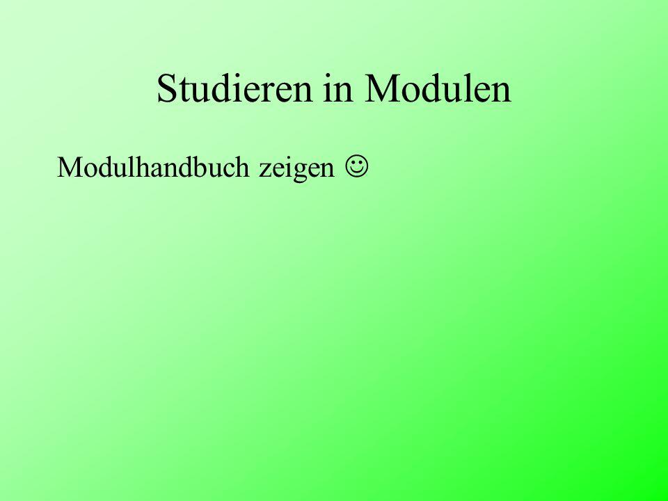 Studieren in Modulen Modulhandbuch zeigen