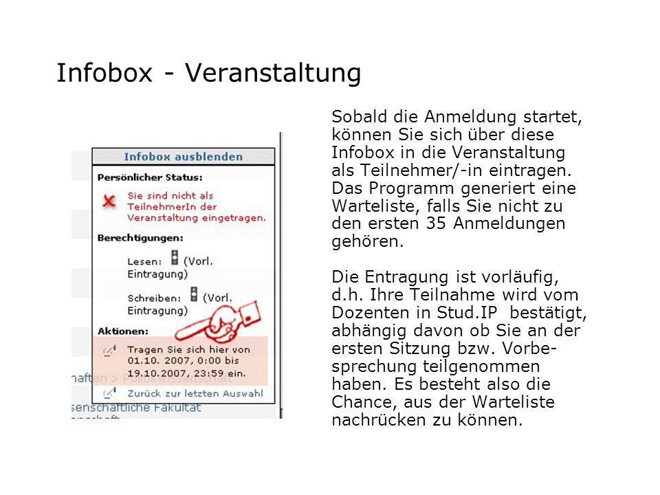 Infobox - Veranstaltung Sobald die Anmeldung startet, können Sie sich über diese Infobox in die Veranstaltung als Teilnehmer/-in eintragen. Das Progra