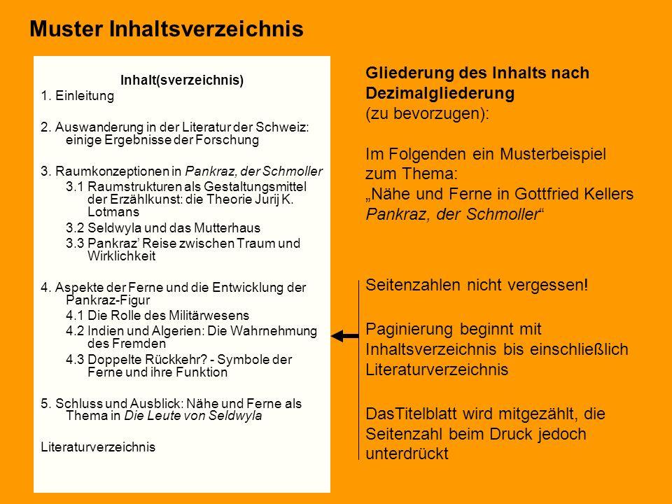 Inhalt(sverzeichnis) 1. Einleitung 2. Auswanderung in der Literatur der Schweiz: einige Ergebnisse der Forschung 3. Raumkonzeptionen in Pankraz, der S