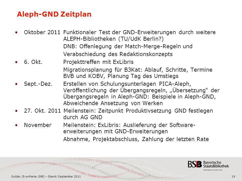 Gulder, Eva-Maria: GND – Stand: September 201119 Aleph-GND Zeitplan Oktober 2011 Funktionaler Test der GND-Erweiterungen durch weitere ALEPH-Bibliothe