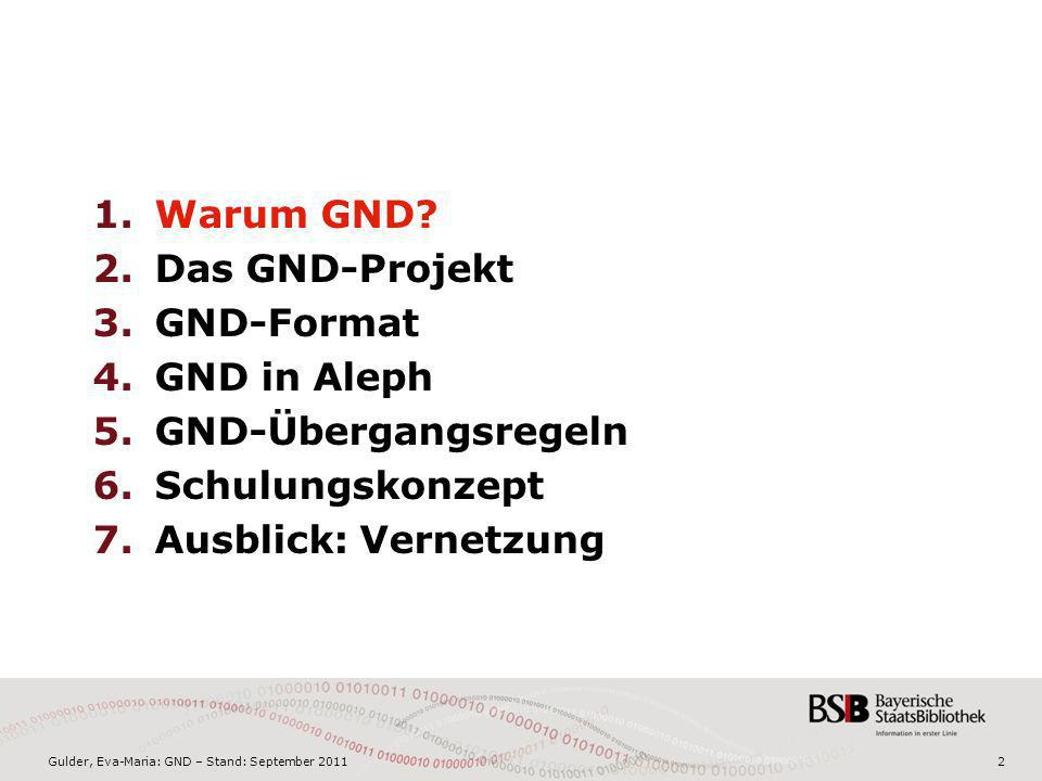 Gulder, Eva-Maria: GND – Stand: September 20113 Die heutigen Normdateien SWD 600.000 EST Musik 90.000 GKD 1,3 Mio.