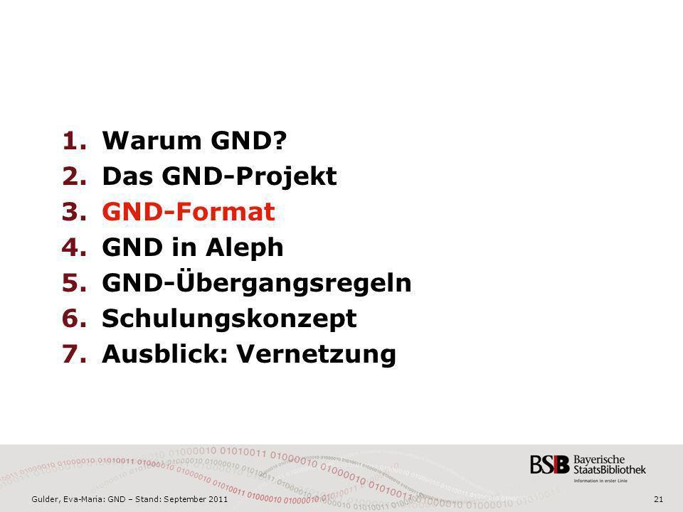 Gulder, Eva-Maria: GND – Stand: September 201121 1.Warum GND? 2.Das GND-Projekt 3.GND-Format 4.GND in Aleph 5.GND-Übergangsregeln 6.Schulungskonzept 7