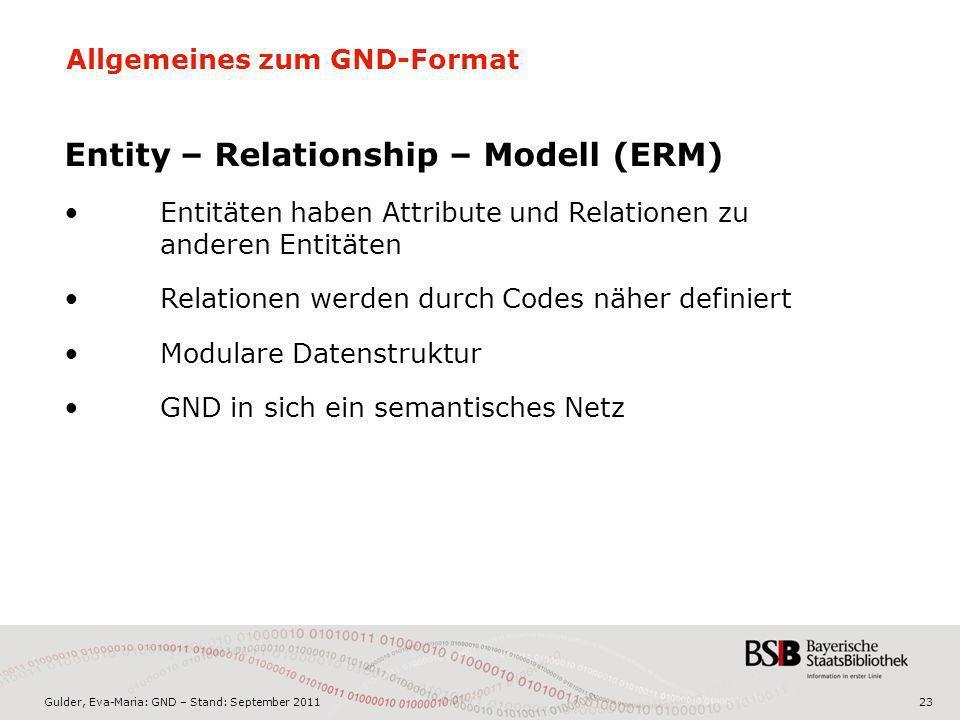 Gulder, Eva-Maria: GND – Stand: September 201123 Allgemeines zum GND-Format Entity – Relationship – Modell (ERM) Entitäten haben Attribute und Relatio