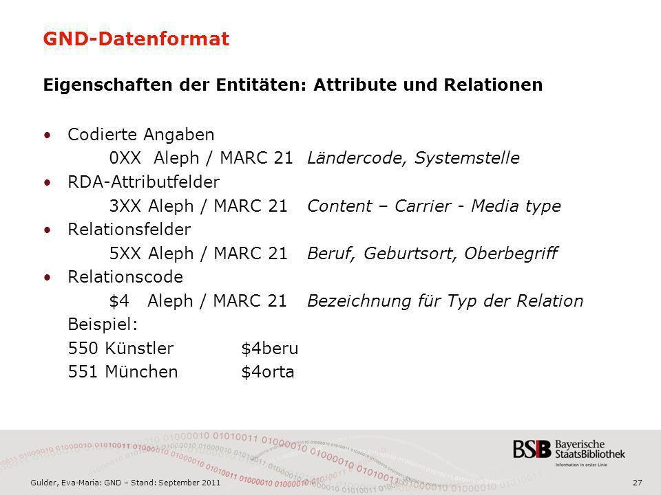 Gulder, Eva-Maria: GND – Stand: September 201127 GND-Datenformat Eigenschaften der Entitäten: Attribute und Relationen Codierte Angaben 0XX Aleph / MA