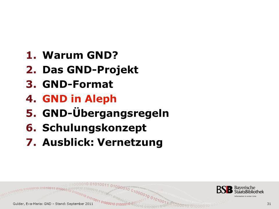 Gulder, Eva-Maria: GND – Stand: September 201131 1.Warum GND? 2.Das GND-Projekt 3.GND-Format 4.GND in Aleph 5.GND-Übergangsregeln 6.Schulungskonzept 7