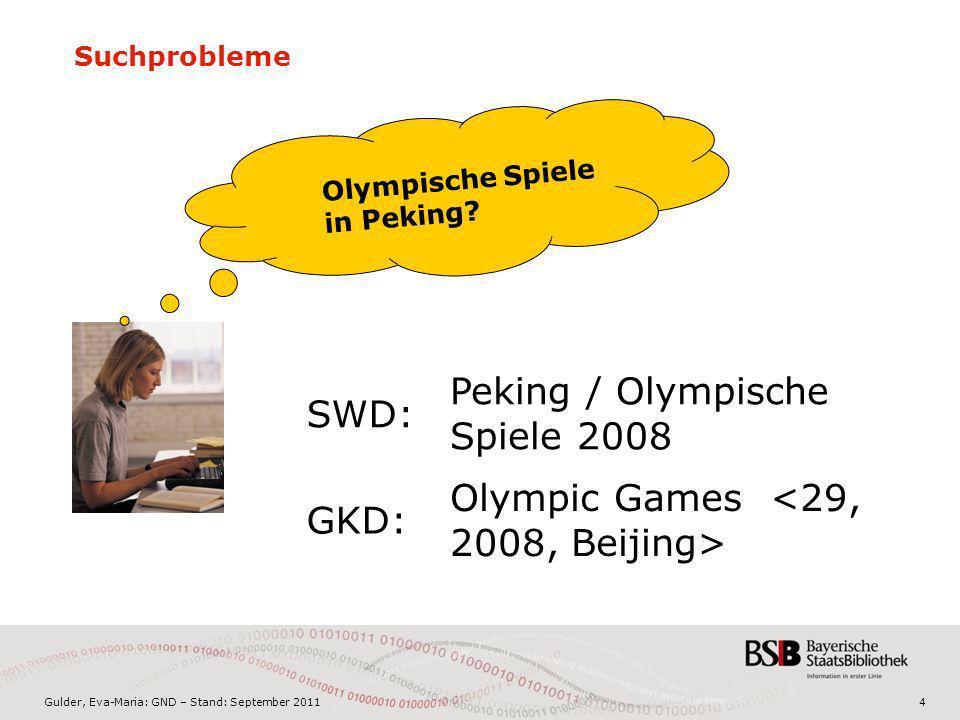 Gulder, Eva-Maria: GND – Stand: September 20114 Suchprobleme Olympische Spiele in Peking? Peking / Olympische Spiele 2008 Olympic Games SWD: GKD: