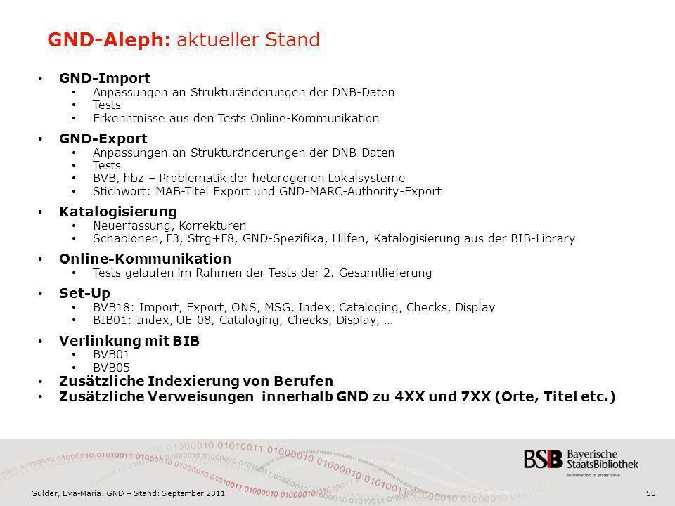 Gulder, Eva-Maria: GND – Stand: September 201150 GND-Aleph: aktueller Stand GND-Import Anpassungen an Strukturänderungen der DNB-Daten Tests Erkenntni