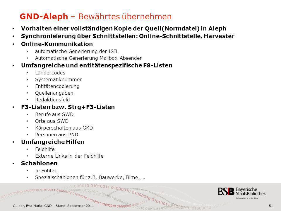 Gulder, Eva-Maria: GND – Stand: September 201151 GND-Aleph – Bewährtes übernehmen Vorhalten einer vollständigen Kopie der Quell(Normdatei) in Aleph Sy