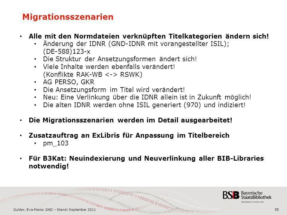 Gulder, Eva-Maria: GND – Stand: September 201155 Migrationsszenarien Alle mit den Normdateien verknüpften Titelkategorien ändern sich! Änderung der ID