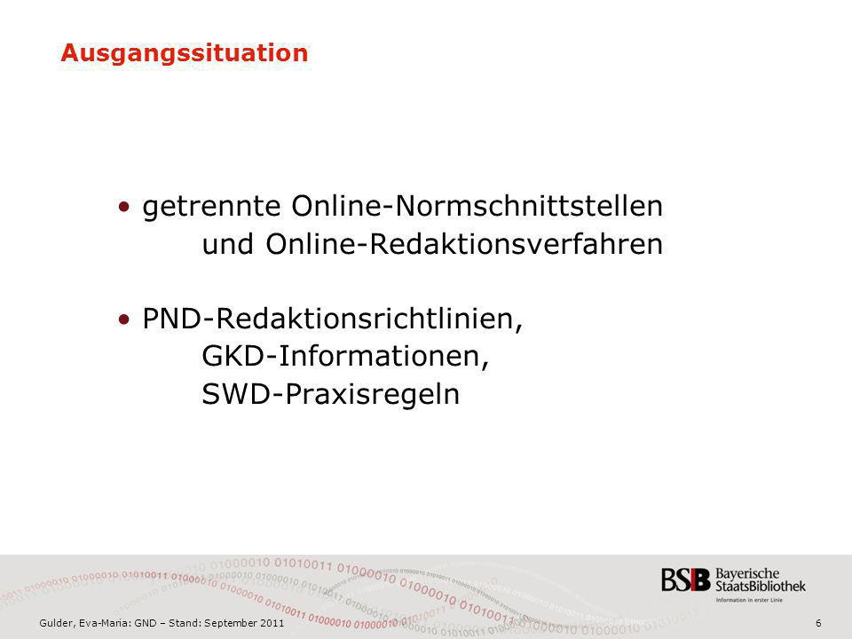 Gulder, Eva-Maria: GND – Stand: September 20117 Zielsituation RegelwerkFormat GND Normdateien RDA MARC 21 Authority 2013?20122013?