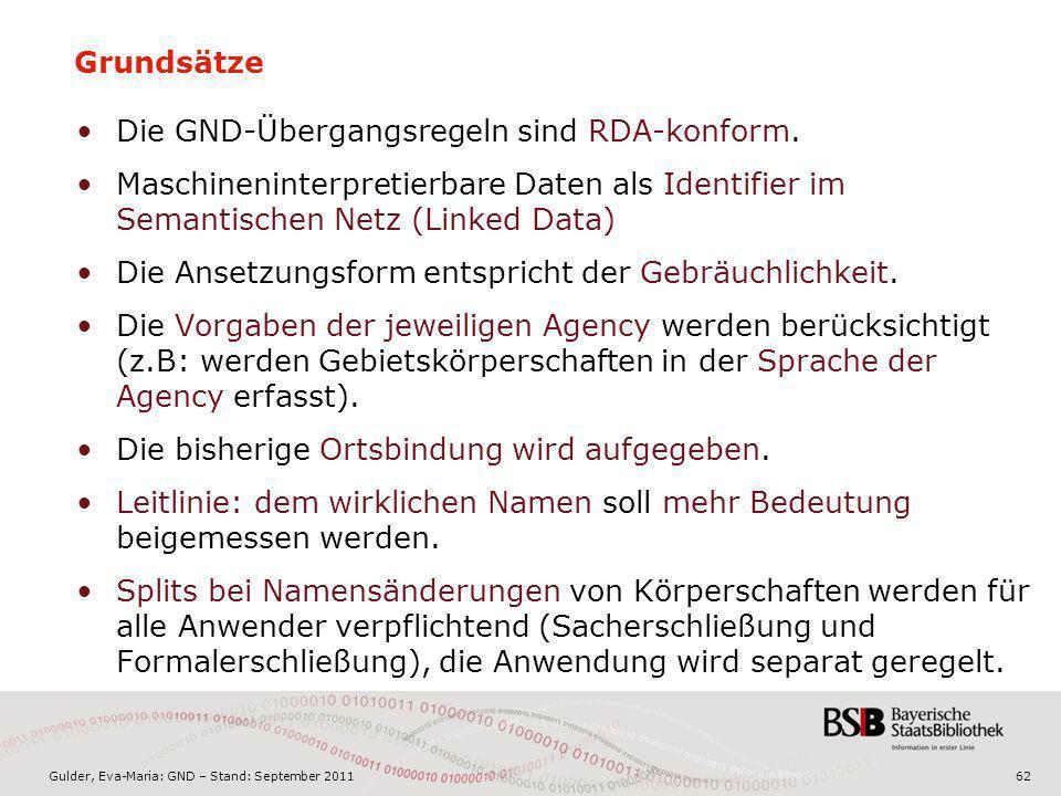 Gulder, Eva-Maria: GND – Stand: September 201162 Grundsätze Die GND-Übergangsregeln sind RDA-konform. Maschineninterpretierbare Daten als Identifier i