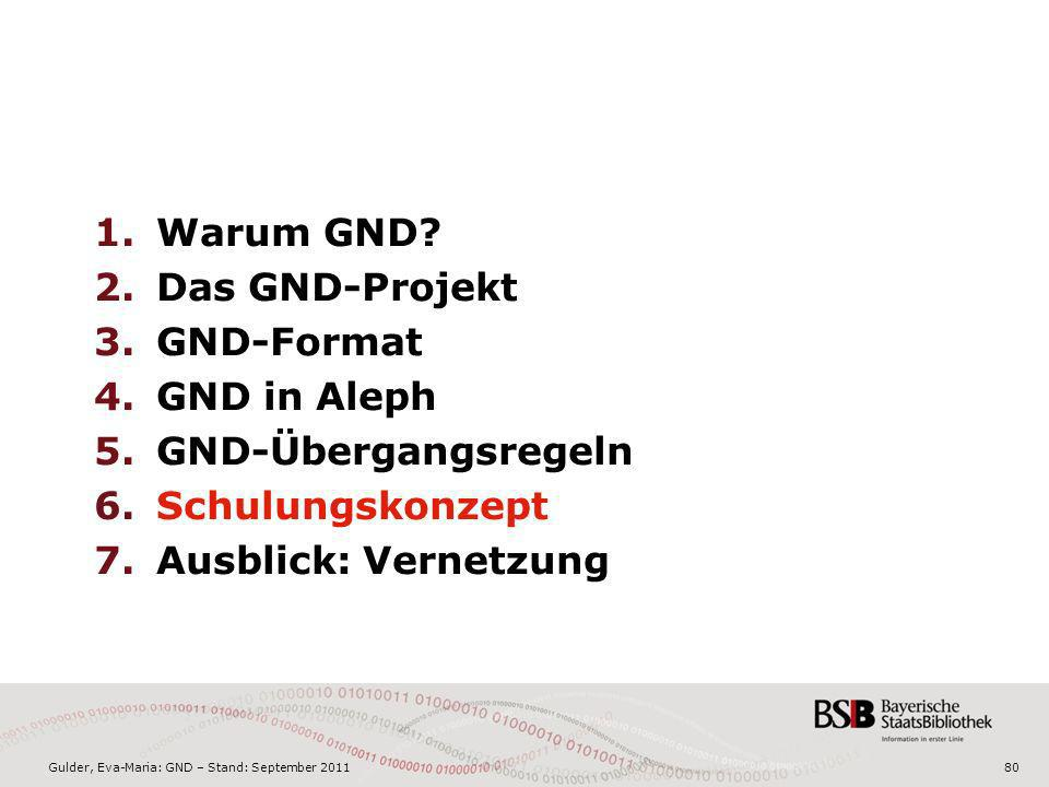 Gulder, Eva-Maria: GND – Stand: September 201180 1.Warum GND? 2.Das GND-Projekt 3.GND-Format 4.GND in Aleph 5.GND-Übergangsregeln 6.Schulungskonzept 7
