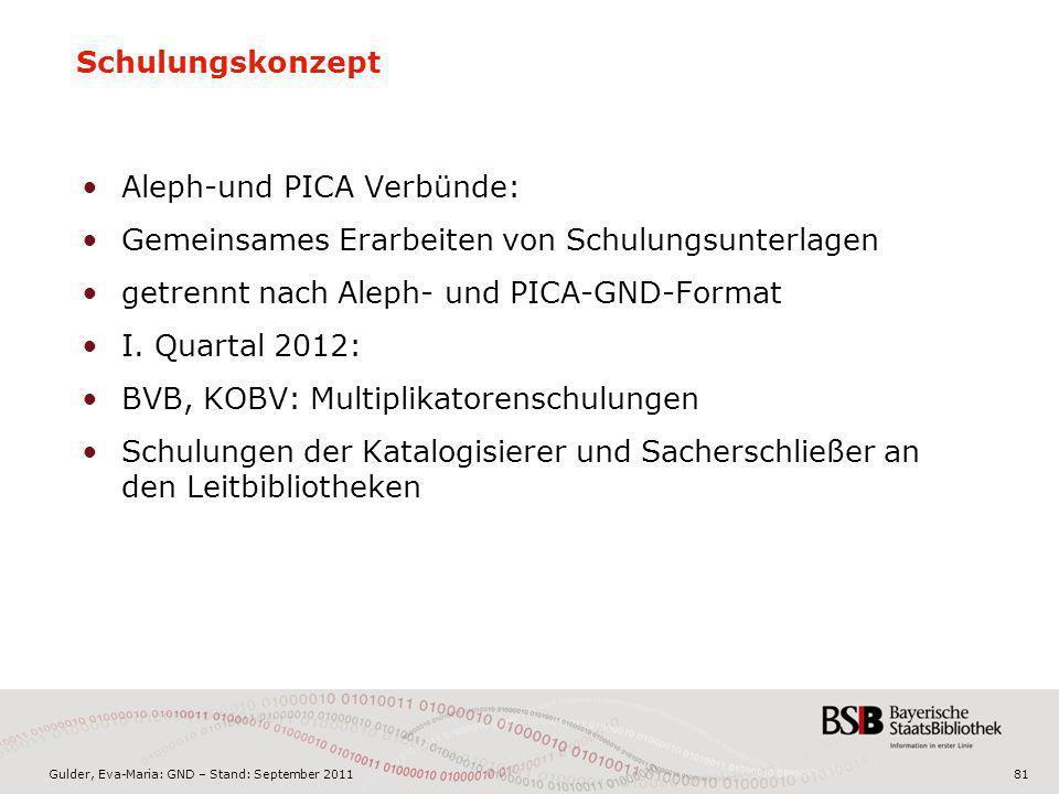 Gulder, Eva-Maria: GND – Stand: September 201181 Aleph-und PICA Verbünde: Gemeinsames Erarbeiten von Schulungsunterlagen getrennt nach Aleph- und PICA