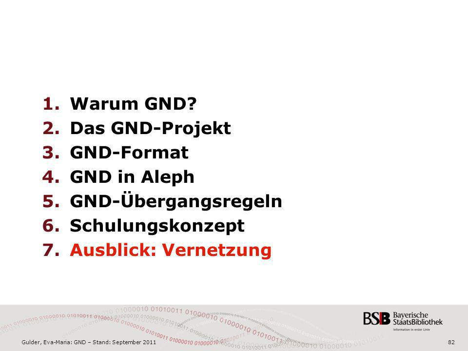 Gulder, Eva-Maria: GND – Stand: September 201182 1.Warum GND? 2.Das GND-Projekt 3.GND-Format 4.GND in Aleph 5.GND-Übergangsregeln 6.Schulungskonzept 7
