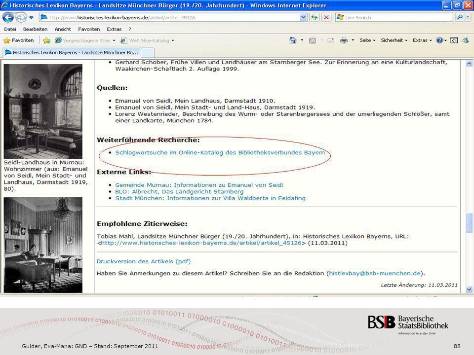 Gulder, Eva-Maria: GND – Stand: September 201188