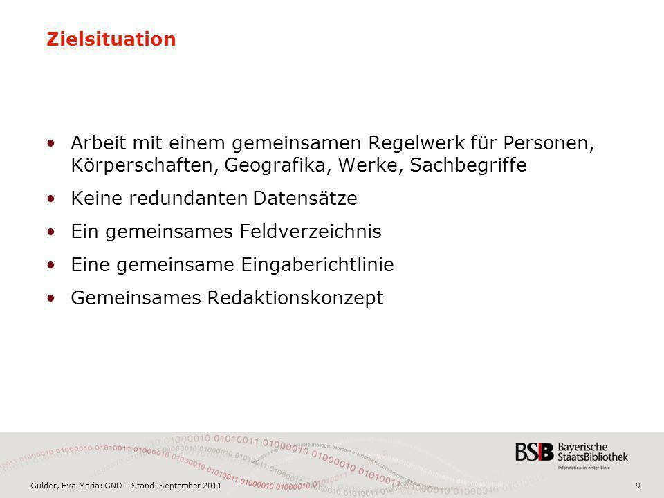 Gulder, Eva-Maria: GND – Stand: September 201130 Zusammenführung der dubletten Datensätze nach Produktivsetzung Körperschaften (GKD – SWD) –Abweichende Splitregeln Geografika (GKD – SWD) –Abweichende Splitregeln Kongresse (GKD – SWD) –Abweichende Splitregeln Werke (SWD – EST) –Abweichungen z.B.