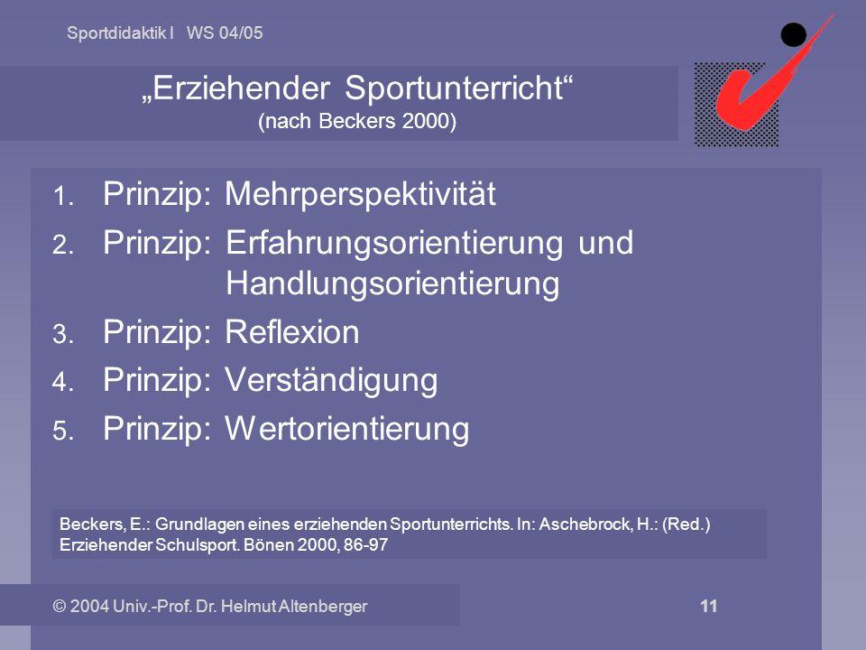 Sportdidaktik I WS 04/05 © 2004 Univ.-Prof. Dr. Helmut Altenberger 11 Erziehender Sportunterricht (nach Beckers 2000) 1. Prinzip: Mehrperspektivität 2