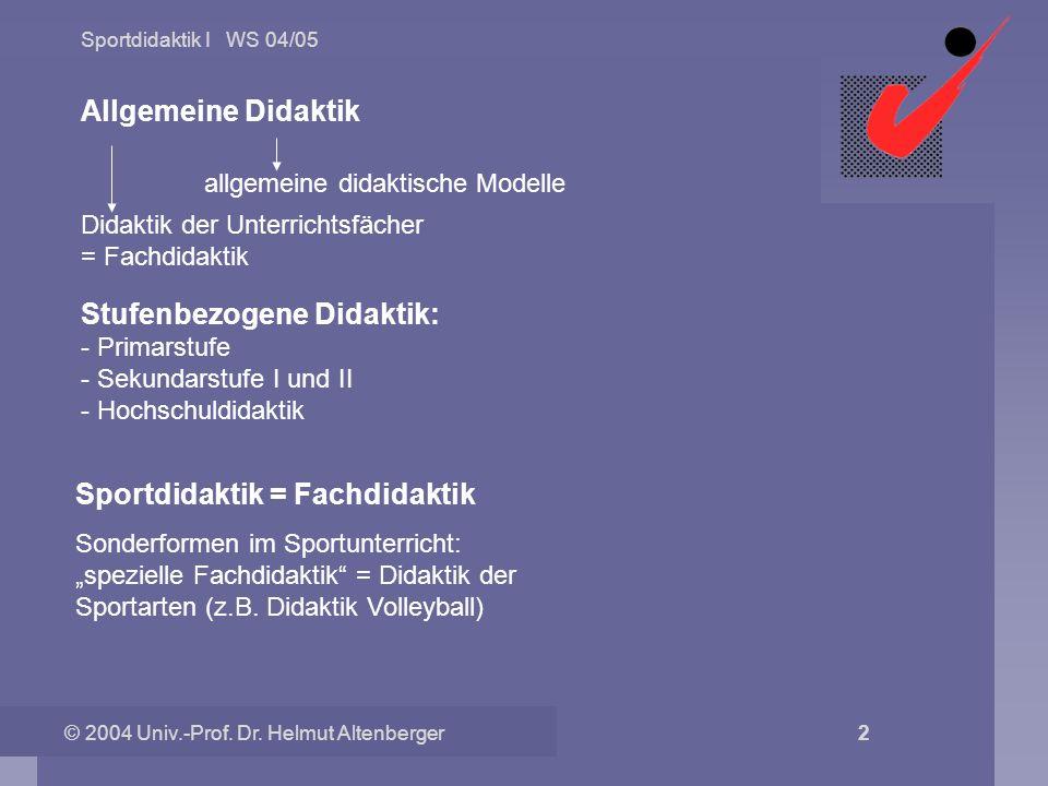 Sportdidaktik I WS 04/05 © 2004 Univ.-Prof. Dr. Helmut Altenberger 2 Allgemeine Didaktik allgemeine didaktische Modelle Didaktik der Unterrichtsfächer