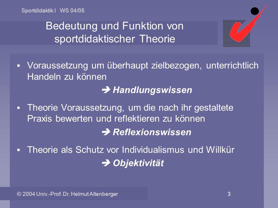 Sportdidaktik I WS 04/05 © 2004 Univ.-Prof. Dr. Helmut Altenberger 3 Bedeutung und Funktion von sportdidaktischer Theorie Voraussetzung um überhaupt z