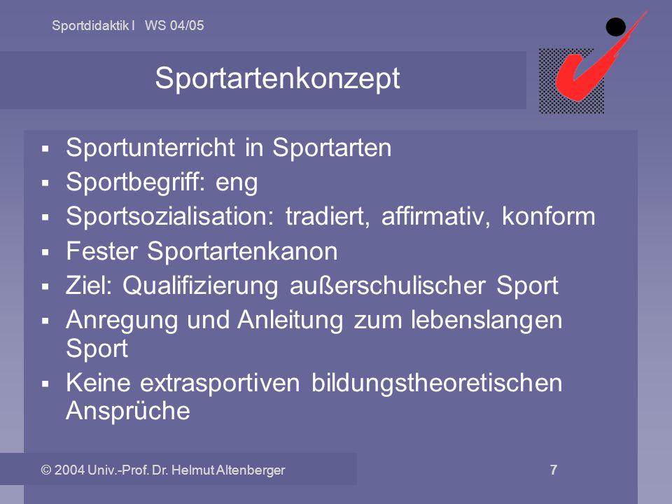 Sportdidaktik I WS 04/05 © 2004 Univ.-Prof. Dr. Helmut Altenberger 7 Sportartenkonzept Sportunterricht in Sportarten Sportbegriff: eng Sportsozialisat