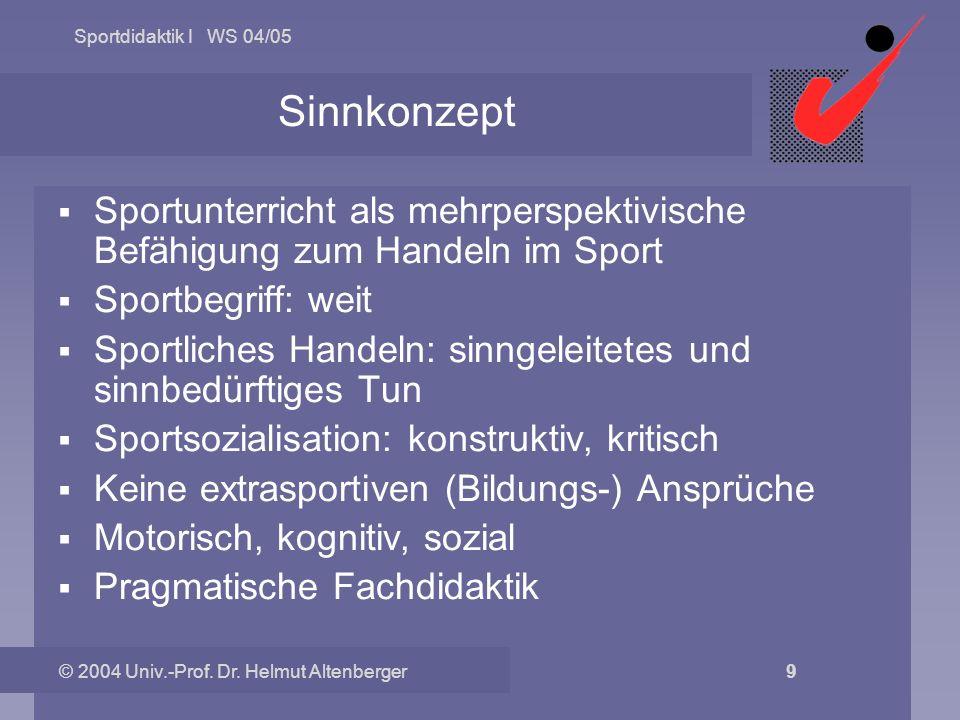 Sportdidaktik I WS 04/05 © 2004 Univ.-Prof. Dr. Helmut Altenberger 9 Sinnkonzept Sportunterricht als mehrperspektivische Befähigung zum Handeln im Spo