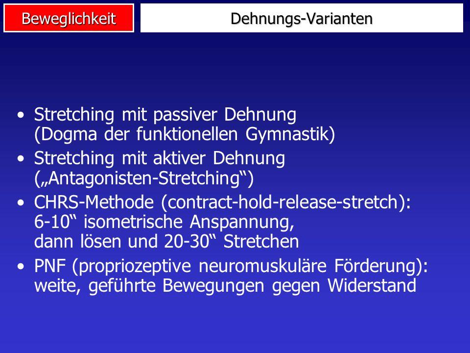 Beweglichkeit Methoden des Beweglichkeitstrainings Klass. Stretching Antagonisten- Stretching Partner- übungen Wippen & Federn statisch dynamischpassi