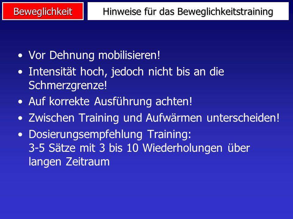 3. Training der Beweglichkeit Dehnungstraining