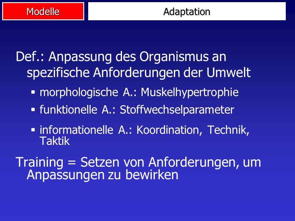 ModelleAdaptation Def.: Anpassung des Organismus an spezifische Anforderungen der Umwelt morphologische A.: Muskelhypertrophie funktionelle A.: Stoffw