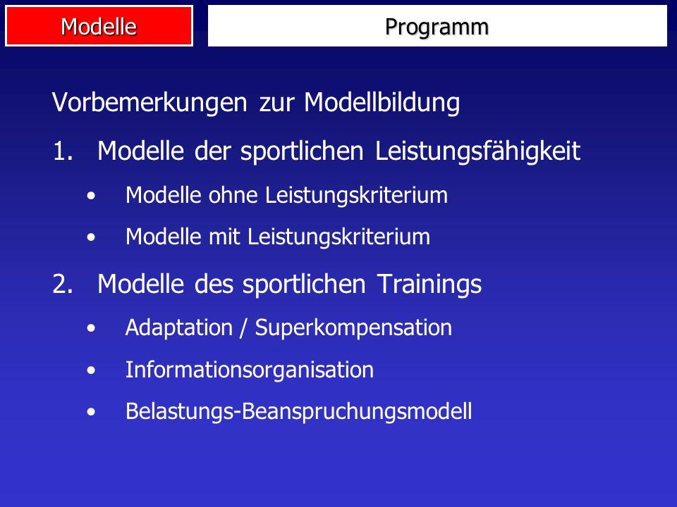 ModelleProgramm Vorbemerkungen zur Modellbildung 1.Modelle der sportlichen Leistungsfähigkeit Modelle ohne Leistungskriterium Modelle mit Leistungskri