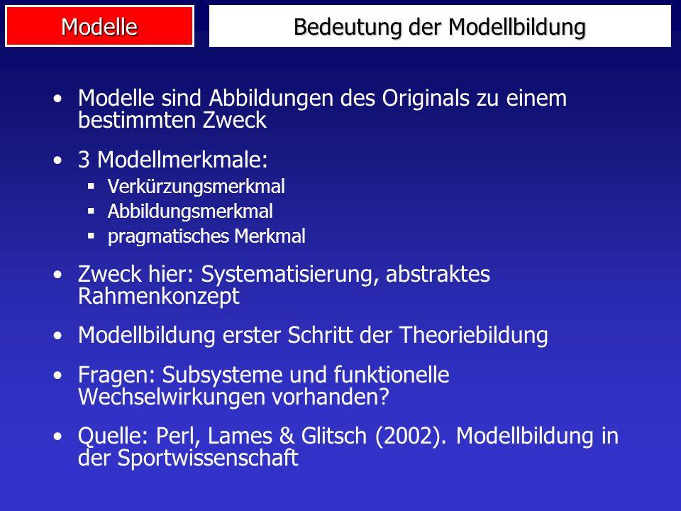 Modelle Bedeutung der Modellbildung Modelle sind Abbildungen des Originals zu einem bestimmten Zweck 3 Modellmerkmale: Verkürzungsmerkmal Abbildungsme