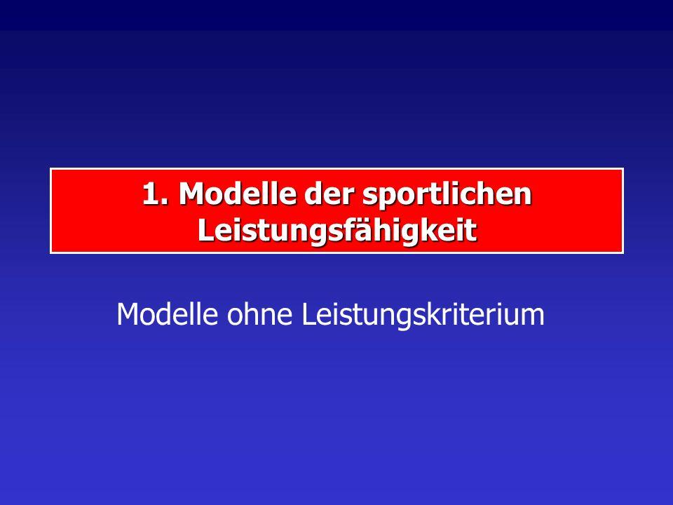 1. Modelle der sportlichen Leistungsfähigkeit Modelle ohne Leistungskriterium