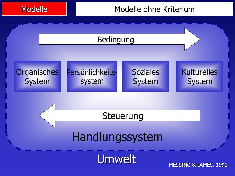 Modelle Handlungssystem Bedingung Steuerung Organisches System Persönlichkeits- system Soziales System Kulturelles System Umwelt MESSING & LAMES, 1991