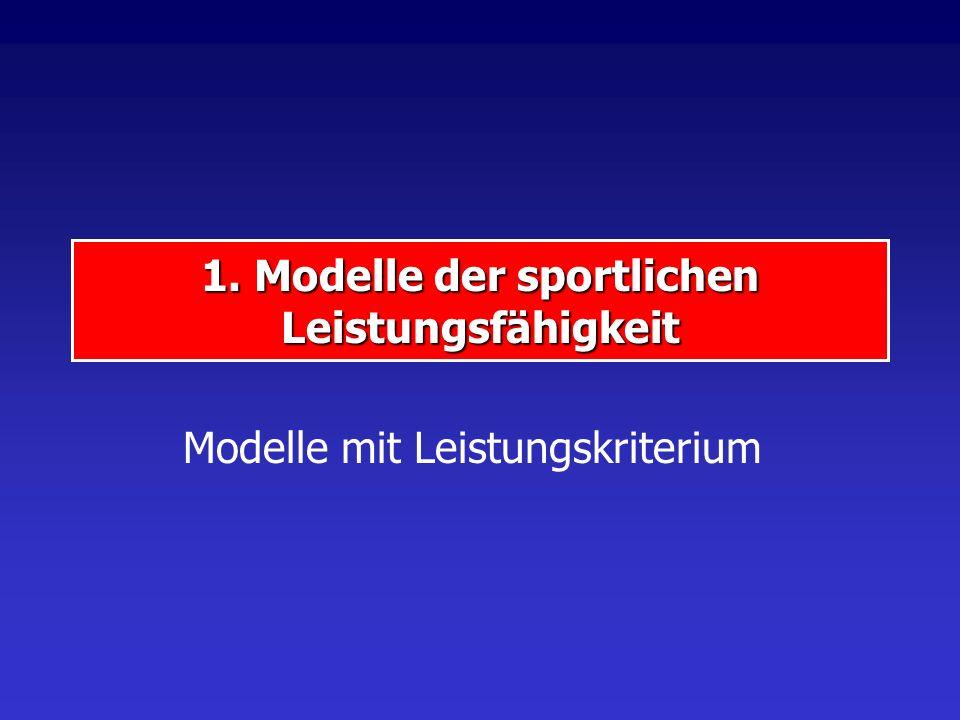 1. Modelle der sportlichen Leistungsfähigkeit Modelle mit Leistungskriterium