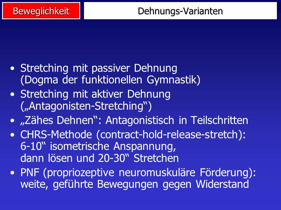Beweglichkeit Methoden des Beweglichkeitstrainings Klassisches Stretching Antagonisten- Kontraktion, CR, CHRS Intermittierend, rhythmisch, ballistisch statisch dynamischpassivaktiv