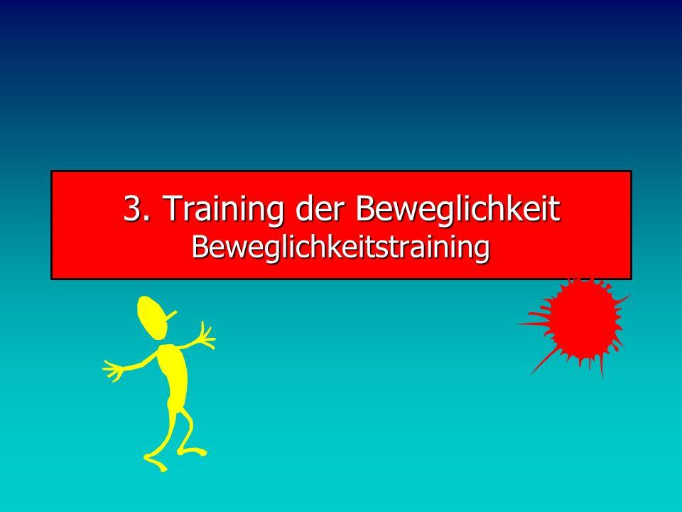 BeweglichkeitDehnungs-Varianten Stretching mit passiver Dehnung (Dogma der funktionellen Gymnastik) Stretching mit aktiver Dehnung (Antagonisten-Stretching) Zähes Dehnen: Antagonistisch in Teilschritten CHRS-Methode (contract-hold-release-stretch): 6-10 isometrische Anspannung, dann lösen und 20-30 Stretchen PNF (propriozeptive neuromuskuläre Förderung): weite, geführte Bewegungen gegen Widerstand