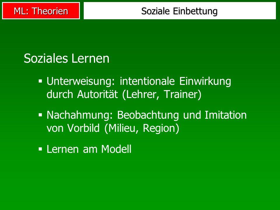 ML: Theorien Soziale Einbettung Soziales Lernen Unterweisung: intentionale Einwirkung durch Autorität (Lehrer, Trainer) Nachahmung: Beobachtung und Im
