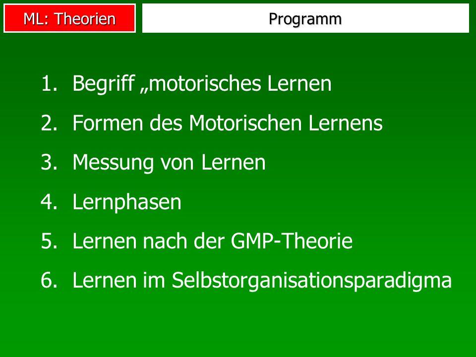 ML: Theorien Programm 1.Begriff motorisches Lernen 2.Formen des Motorischen Lernens 3.Messung von Lernen 4.Lernphasen 5.Lernen nach der GMP-Theorie 6.