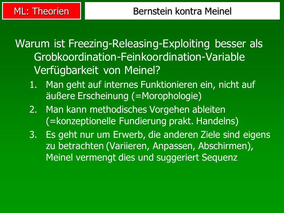 ML: Theorien Bernstein kontra Meinel Warum ist Freezing-Releasing-Exploiting besser als Grobkoordination-Feinkoordination-Variable Verfügbarkeit von M
