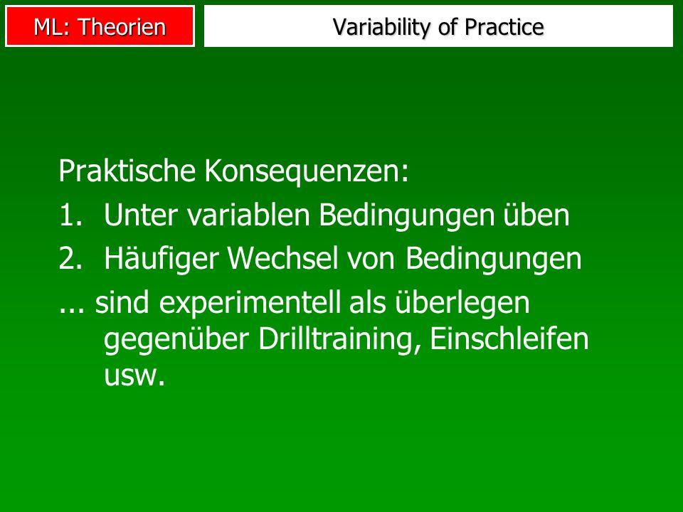 ML: Theorien Variability of Practice Praktische Konsequenzen: 1.Unter variablen Bedingungen üben 2.Häufiger Wechsel von Bedingungen... sind experiment