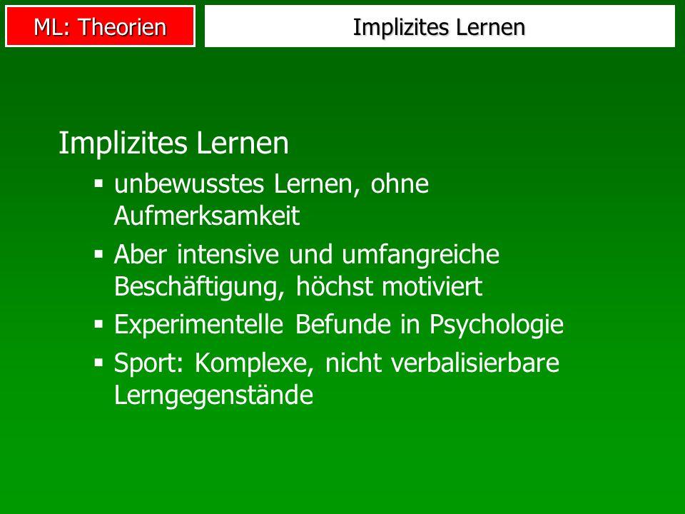 ML: Theorien Implizites Lernen unbewusstes Lernen, ohne Aufmerksamkeit Aber intensive und umfangreiche Beschäftigung, höchst motiviert Experimentelle