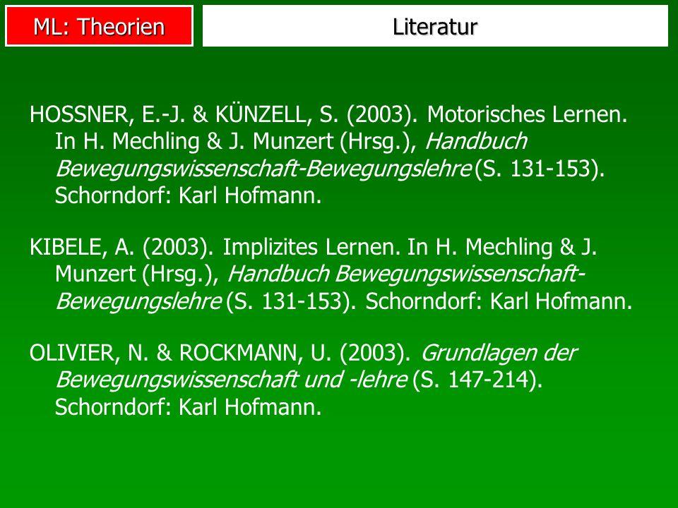 ML: Theorien Literatur HOSSNER, E.-J. & KÜNZELL, S. (2003). Motorisches Lernen. In H. Mechling & J. Munzert (Hrsg.), Handbuch Bewegungswissenschaft-Be