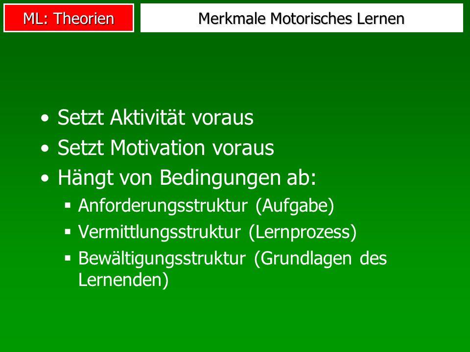 ML: Theorien Merkmale Motorisches Lernen Setzt Aktivität voraus Setzt Motivation voraus Hängt von Bedingungen ab: Anforderungsstruktur (Aufgabe) Vermi
