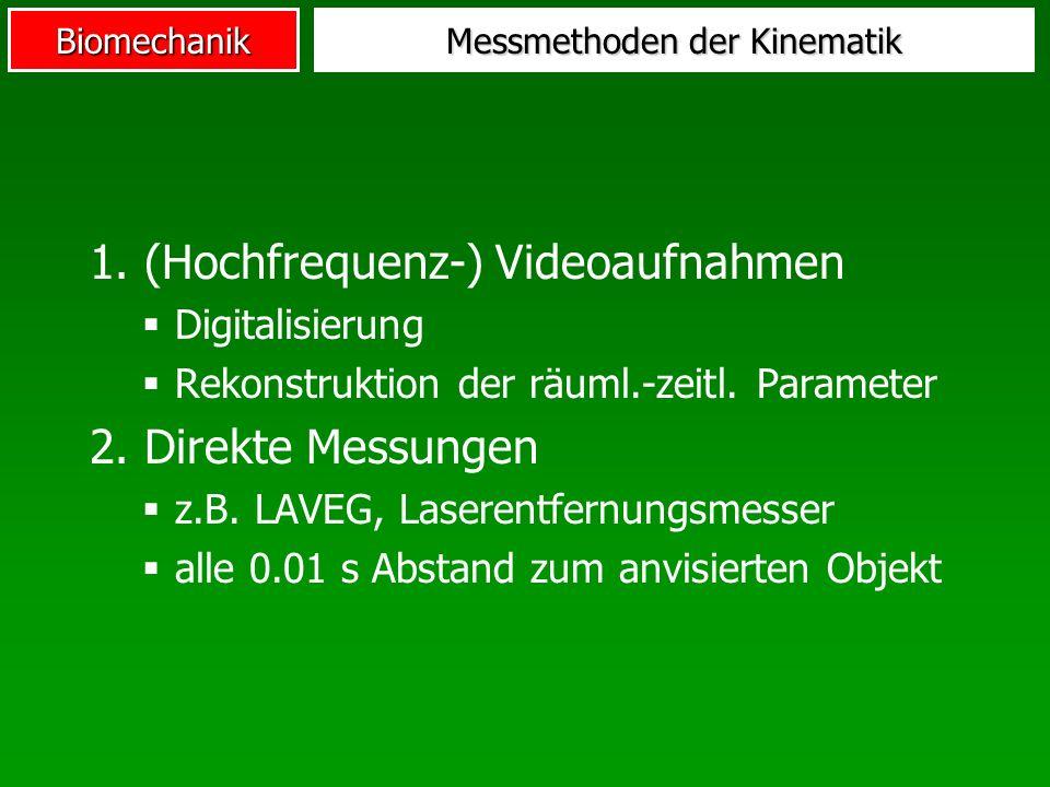 Biomechanik Messmethoden der Kinematik 1. (Hochfrequenz-) Videoaufnahmen Digitalisierung Rekonstruktion der räuml.-zeitl. Parameter 2. Direkte Messung