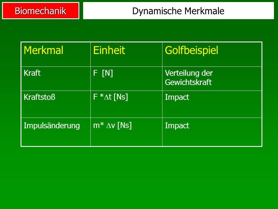 BiomechanikDynamische Merkmale Impact m* v [Ns] Impulsänderung Verteilung der Gewichtskraft F [N]Kraft GolfbeispielEinheitMerkmal Impact F * t [Ns] Kr