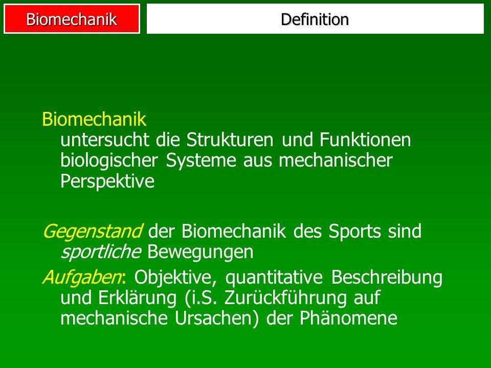 Biomechanik Das Bio in Biomechanik Mechanische Gesetzmäßigkeiten Idealisierungen (Massepunkt, geometrische Flächen, Körperschwerpunkt,...) Deterministische Aussagen aber...