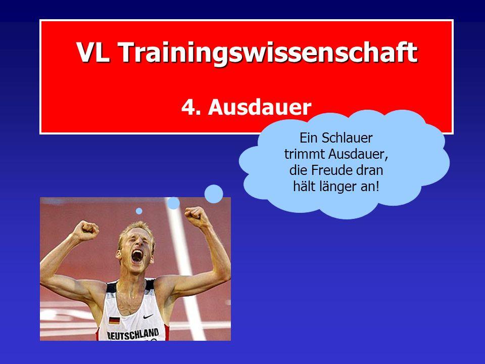 VL Trainingswissenschaft VL Trainingswissenschaft 4. Ausdauer Ein Schlauer trimmt Ausdauer, die Freude dran hält länger an!