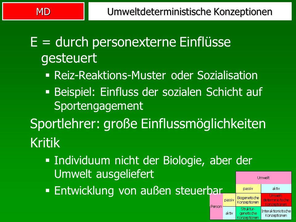 MD Umweltdeterministische Konzeptionen E = durch personexterne Einflüsse gesteuert Reiz-Reaktions-Muster oder Sozialisation Beispiel: Einfluss der soz